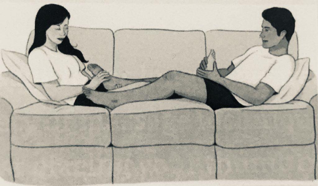 Partner double foot massage